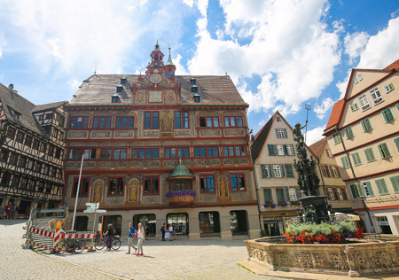 half timbered house: Town Hall in the historical center of Tubingen, Baden Wurttemberg, Germany.