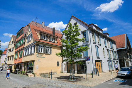 Typical houses in the historical center of Tubingen, Baden Wurttemberg, Germany.