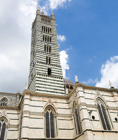Main tower of Siena Cathedral (13th Century) in the center of Siena, Tuscany, Italy. Editorial