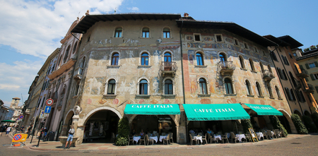Case Cazuffi-Rella, a 16th Century palazzo on the Piazza Duomo in Trento, Trentino, Italy with famous frescoes by the Renaissance artist Fogolino