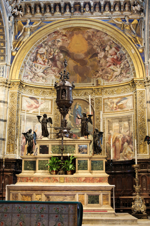High Altar (created in 1532) in the Cathedral of Siena, Tuscany, Italy