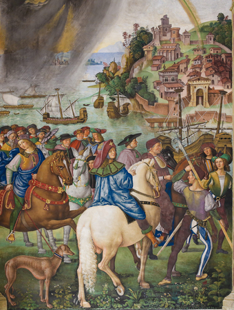 pius: Frescoes (1502) in Piccolomini Library in Siena Cathedral, Tuscany, Italy, by Pinturicchio depicting Pope Pius II leaving for the Council of Basel. The storm scene is a first in western art.