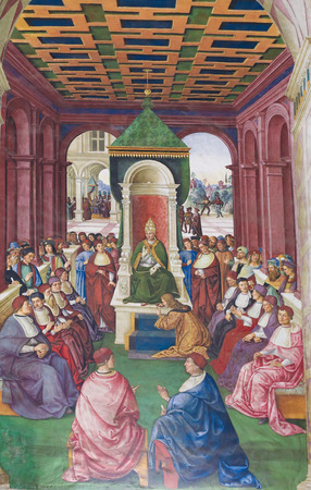 pius: Frescoes (1502) in Piccolomini Library in Siena Cathedral, Tuscany, Italy, by Pinturicchio depicting Enea Silvio Piccolomini making an act of submission to Pope Eugene IV