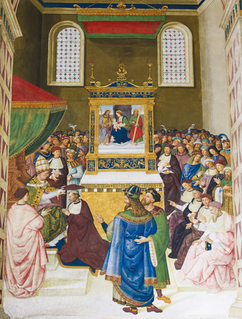 pius: Frescoes (1502) in Piccolomini Library in Siena Cathedral, Tuscany, Italy, by Pinturicchio depicting Enea Silvio (later Pope Pius II) receiving the cardinals hat in 1456 Editorial