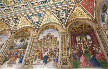 pius: Frescoes (1502) in Piccolomini Library in Siena Cathedral, Tuscany, Italy, by Pinturicchio depicting scenes in the Life of Pope Pius II