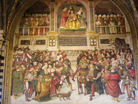 pius: Frescoes (1502) in Piccolomini Library in Siena Cathedral, Tuscany, Italy, by Pinturicchio depicting a scene in the Life of Pope Pius II Editorial