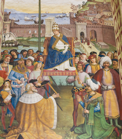 Frescoes (1502) in Piccolomini Library in Siena Cathedral, Tuscany, Italy, by Pinturicchio depicting Pope Pius II arriving in Ancona to launch a crusade