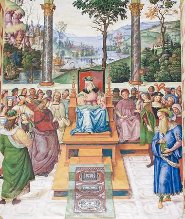Frescoes (1502) in Piccolomini Library in Siena Cathedral, Tuscany, Italy, by Pinturicchio depicting Enea Silvio Piccolomini as ambassador to Scotland