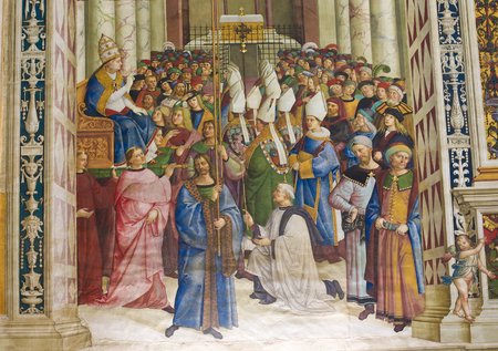 pius: Frescoes (1502) in Piccolomini Library in Siena Cathedral, Tuscany, Italy, by Pinturicchio depicting Pope Pius II entering the Lateran as pontiff in 1458