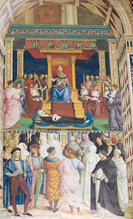 pius: Frescoes (1502) in Piccolomini Library in Siena Cathedral, Tuscany, Italy, by Pinturicchio depicting Pope Pius II canonizing Saint Catherine of Siena in 1461 Editorial