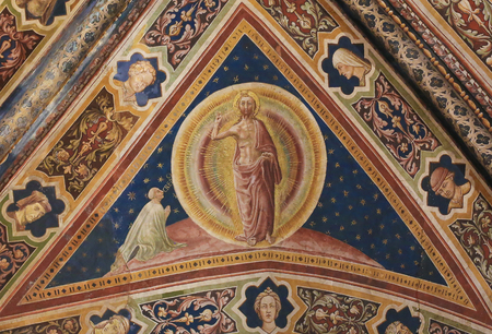 Fresco of Jesus Christ created in 1450 by the Renaissance artist Vecchietta in the Siena Baptistery of San Giovanni at the Cathedral of Siena, Tuscany, Italy.