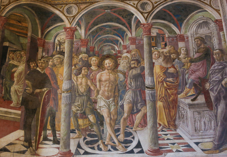 Fresco (1450) by Vecchietta in the Siena Baptistery of San Giovanni at the Cathedral of Siena, depicting the Flagellation of Christ Editorial
