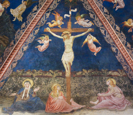 Fresco (1450) by Vecchietta in the Siena Baptistery of San Giovanni at the Cathedral of Siena, depicting Jesus on the Cross