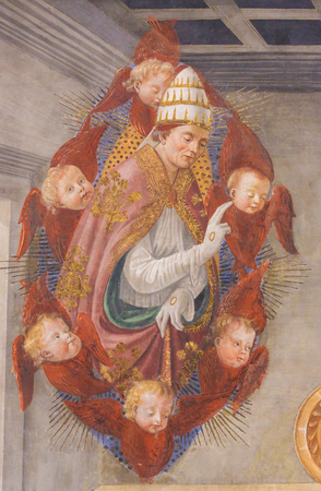 Fresco (1478) depicting Saint Gregory the Great, supported by red-winged cherubim, in the Collegiata of San Gimignano, Italy.
