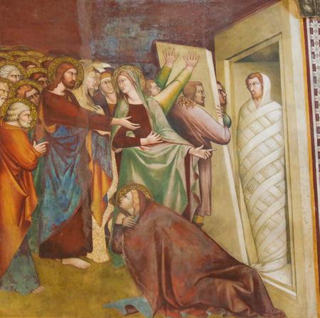 Jesus calls Lazarus forth from the tomb. Fresco in the Collegiata or Collegiate Church of San Gimignano, Italy.