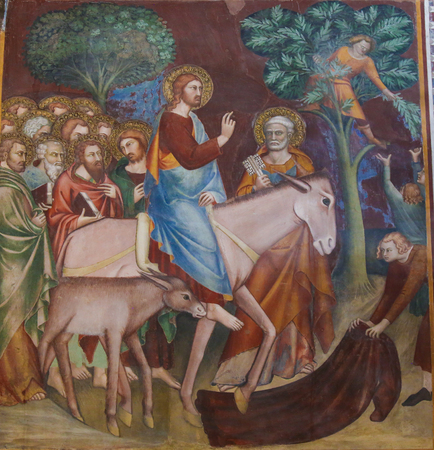 Jesus enters Jerusalem on a donkey on Palm Sunday. 14th Century Fresco in the Collegiata of San Gimignano, Italy.