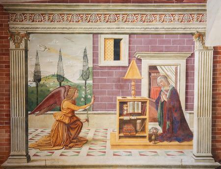 Fresco depicting The Annunciation, created by Sebastiano Mainardi in 1482, in the Collegiata of San Gimignano, Italy.