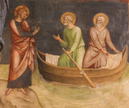 Renaissance Fresco depicting Jesus calling of Saint Peter and Andrew, in the Collegiata of San Gimignano, Italy. Editorial