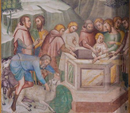 Renaissance-Fresko mit der Darstellung des von seinen Brüdern in den Brunnen gegossenen Joseph in der Collegiata von San Gimignano, Italien. Standard-Bild - 86979386