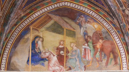 Renaissance Fresco depicting an Epiphany Scene, the Visit of the Three Kings, in the Collegiata of San Gimignano, Italy. Editoriali