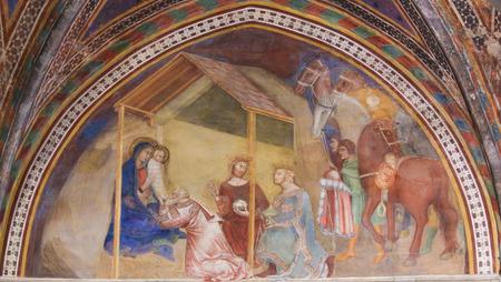 Renaissance Fresco depicting an Epiphany Scene, the Visit of the Three Kings, in the Collegiata of San Gimignano, Italy. Редакционное