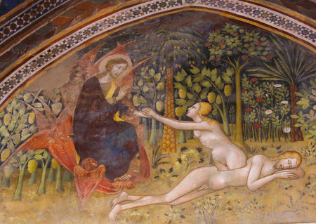 Renaissance Fresco (1365) by Bartolo di Fredi depicting the Creation of Eve in the Collegiata or Collegiate Church of San Gimignano, Italy. Stok Fotoğraf - 87034051
