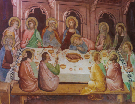 Renaissance Fresco depicting Jesus and the Apostles at the Last Supper, in the Collegiata of San Gimignano, Italy. Publikacyjne