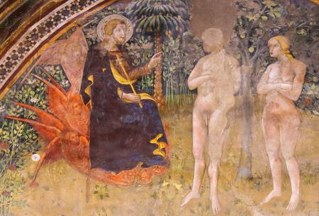 Renaissance Fresco (1365) by Bartolo di Fredi depicting Jesus, Adam and Eve in the Garden of Eden in the Collegiata of San Gimignano, Italy.
