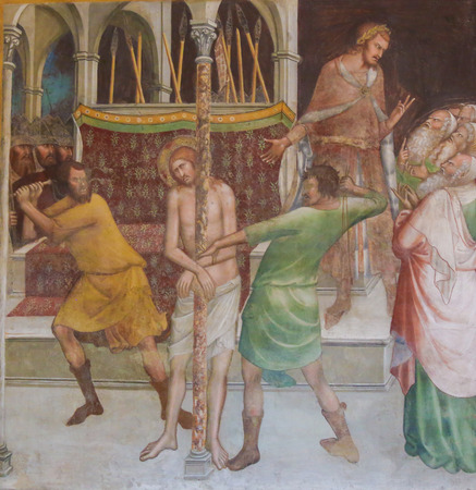 Renaissance Fresco depicting the Flagellation of Christ in the Collegiata of San Gimignano, Italy.