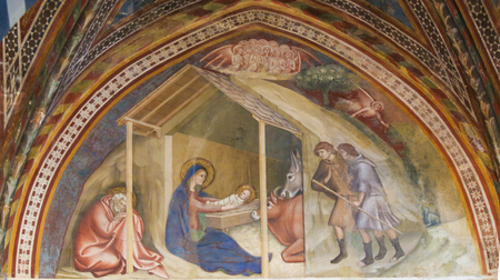 Renaissance Fresco depicting a Nativity Scene at Christmas, in the Collegiata of San Gimignano, Italy.