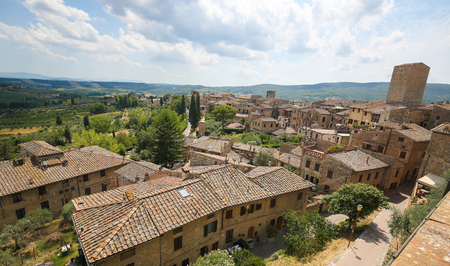 View on the medieval center of San Gimignano, the Town of Fine Towers in Tuscany, Italy Stock Photo