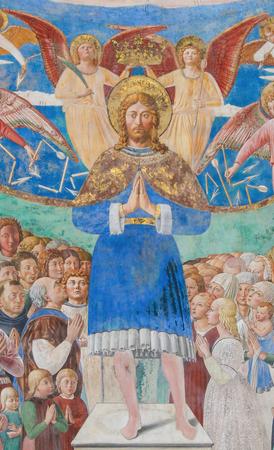 Fresco of Saint Sebastian with devotees in the Church of Sant Agostino in San Gimignano, Tuscany, Italy, created by Benozzo Gozzoli in 1464. Editorial