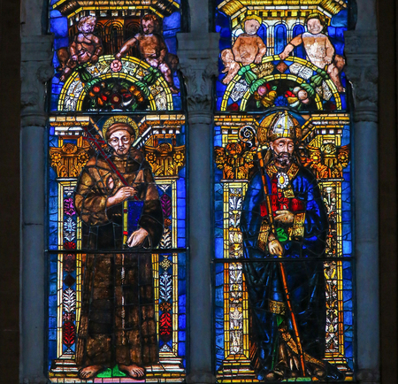 Sixteenth Century Stained Glass Window in the Basilica of San Petronio, Bologna, Emilia Romagna, Italy.