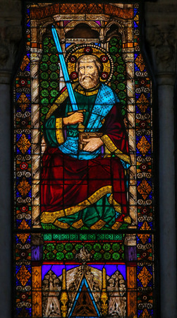 Stained Glass in the Basilica of San Petronio, Bologna, Emilia Romagna, Italy, depicting Saint Paul holding a sword