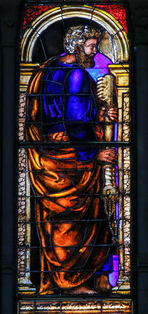 Stained Glass in the Basilica of San Petronio, Bologna, Emilia Romagna, Italy, depicting the Apostle Saint Peter or Petrus Editorial