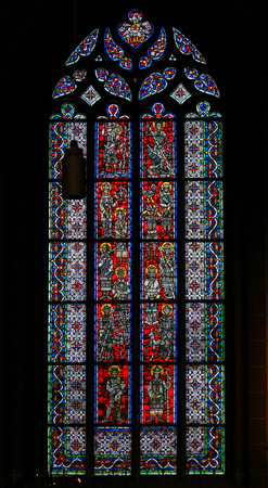 Stained Glass in Wormser Dom in Worms, Germany, depicting various Catholic Saints Editorial