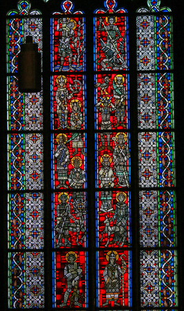 Stained Glass in Wormser Dom in Worms, Germany, depicting various Catholic Saints 스톡 콘텐츠