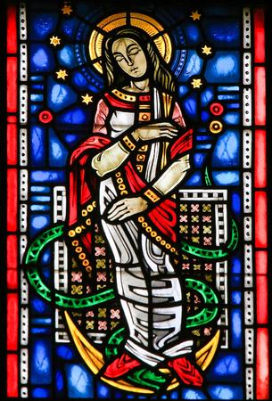 Vitral en Wormser Dom en Worms, Alemania, que representa a la Virgen María pisar una serpiente Foto de archivo - 91222199