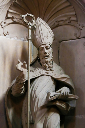 Statue of a Roman Catholic Bishop in Wormser Dom or St Peters Church in Worms, Rhineland-Palatinate, Germany.