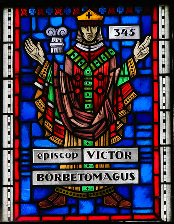 Stained Glass in Wormser Dom in Worms, Germany, depicting Victor, Bishop of Worms in 345.