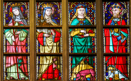 Stained Glass window in the Cathedral of Saint Bavo in Ghent, Flanders, Belgium, depicting Catholic Saints Publikacyjne