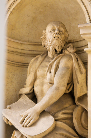 Statue of Moses and a Stone Tablet at the Santa Casa of Loreta, a large pilgrimage site in Hradcany, Prague Stock Photo