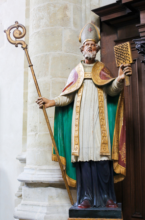 Antwerp, Belgium, Statue of a Bishop Saint in the Church of St Andrew