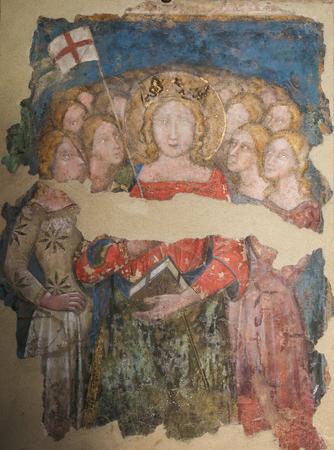 Fresco in the Martyrium of the Basilica of Santo Stefano in Bologna, Emilia Romagna, Italy.
