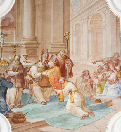 Fresco depicting the Ordination of Saint Magnus of Fussen, Saint Mang, in the Basilica of Fussen, Bavaria, Germany.