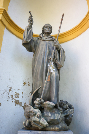 Statue of Saint Magnus of Fuessen, also known as Saint Mang, in the Saint Mang Basilica in Fussen, Bavaria, Germany. Stock Photo