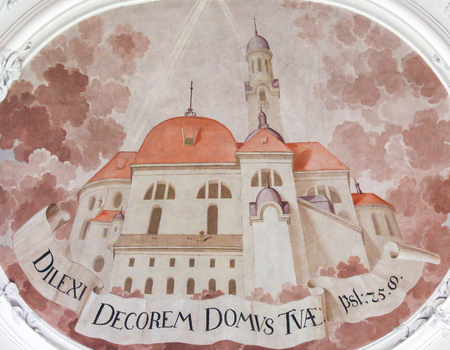 Fresco depicting the New Church of St Mang in Saint Mang Basilica in Fussen, Bavaria, Germany. Stock Photo