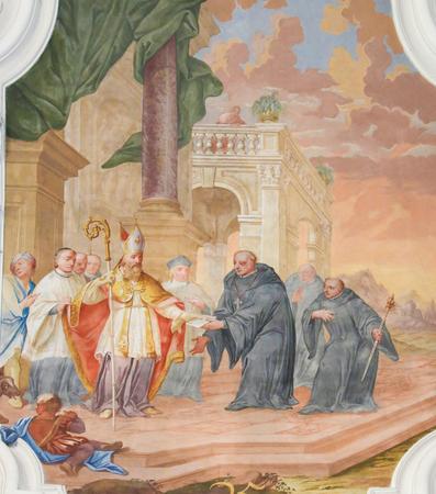 Fresco depicting Saint Benedict and Saint Magnus of Fussen, Saint Mang, in the Basilica of Fussen, Bavaria, Germany.