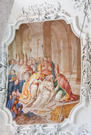 Early 18th Century Fresco depicting Saint Magnus of Fussen, Saint Mang, in the Basilica of Fussen, Bavaria, Germany.