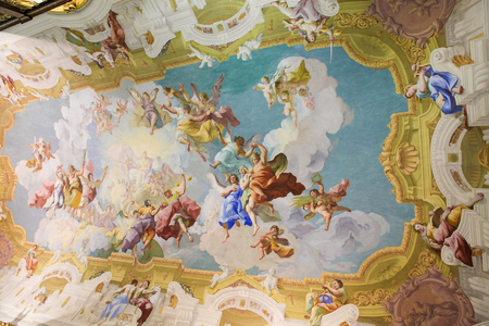 Fresco (1731) in the Libary of Stift Melk in Lower Austria, depicting the Cardinal Virtues Prudence, Justice, Fortitude, and Temperance.